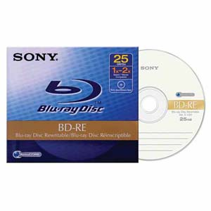 Sony 25GB Rewriteable DVD Blue Ray (1/PK) (BNE25AHE)