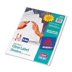 Avery Clear White Label 5-Tab Dividers (11253)