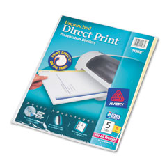 Avery Direct Print Unpunched 5-Tab Dividers (4/PK) (11568)
