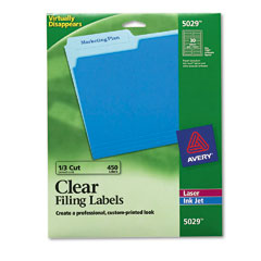 Avery Clear Self-Adhesive Filing Labels (3 7/16 x15/16) (5029)