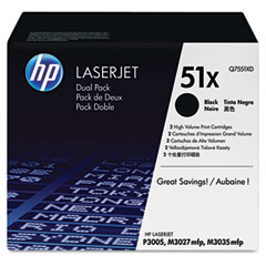 Hewlett Packard Laserjet P3005 Print Cartridge (2/PK) (13000 Page Yield) (Q7551XD)