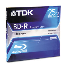 TDK Blu-Ray BD-R Recordable DVD Disc/Jewel Case/2x/25GB (48697)